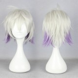 32cm Short karneval-NAI Gray&Purple Mixed Anime Cosplay wig WIG-339G