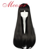 70CM Lolita/zipper Black Color Long Staitght Wig WIG-398A