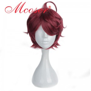 35cm Short Curly Dark Red Cosplay Wig WIG-658E