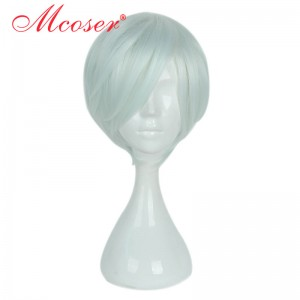 35cm Short Straight Light Green Cosplay Wig WIG-658C