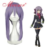 45cm Medium Straight Seraph of the End Vampire Hiiragi Shinoa dark blue Cosplay Wig WIG-586A