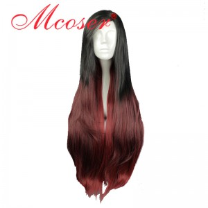 85cm Long Straight League Of Legends LOL  Katarina Black Red Mixed Cosplay Wig WIG-585A