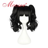 35CM Lolita Curly zipper wig With Two Ponytails Black Color WIG-419A