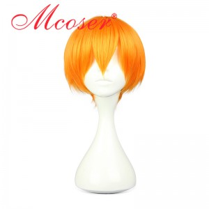 35CM Short Straight Lovelive! Hoshizora Rin Orange Color Cosplay Wig WIG-560F