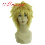 Ao no Exorcist-shima renzou golden yellow cosplay wig 023E