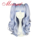 50CM Lolita Curly zipper wig With Two Ponytails Light Purple Color WIG-437A