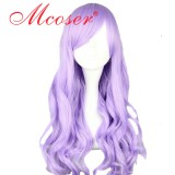 70CM Lolita Curly zipper wig Light Purple Color WIG-406A