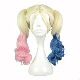 50cm Medium Wave Suicide Squad Harley Quinn Gold mixed blue mixed pink Cosplay Wig WIG-591A