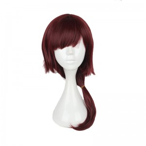 60cm Long Straight Dream Kingdom and sleeping prince 100-Cherry blossoms Dark Red Cosplay Wig WIG-606G