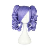35CM Lolita Curly zipper wig With Two Ponytails Purple Color WIG-422A