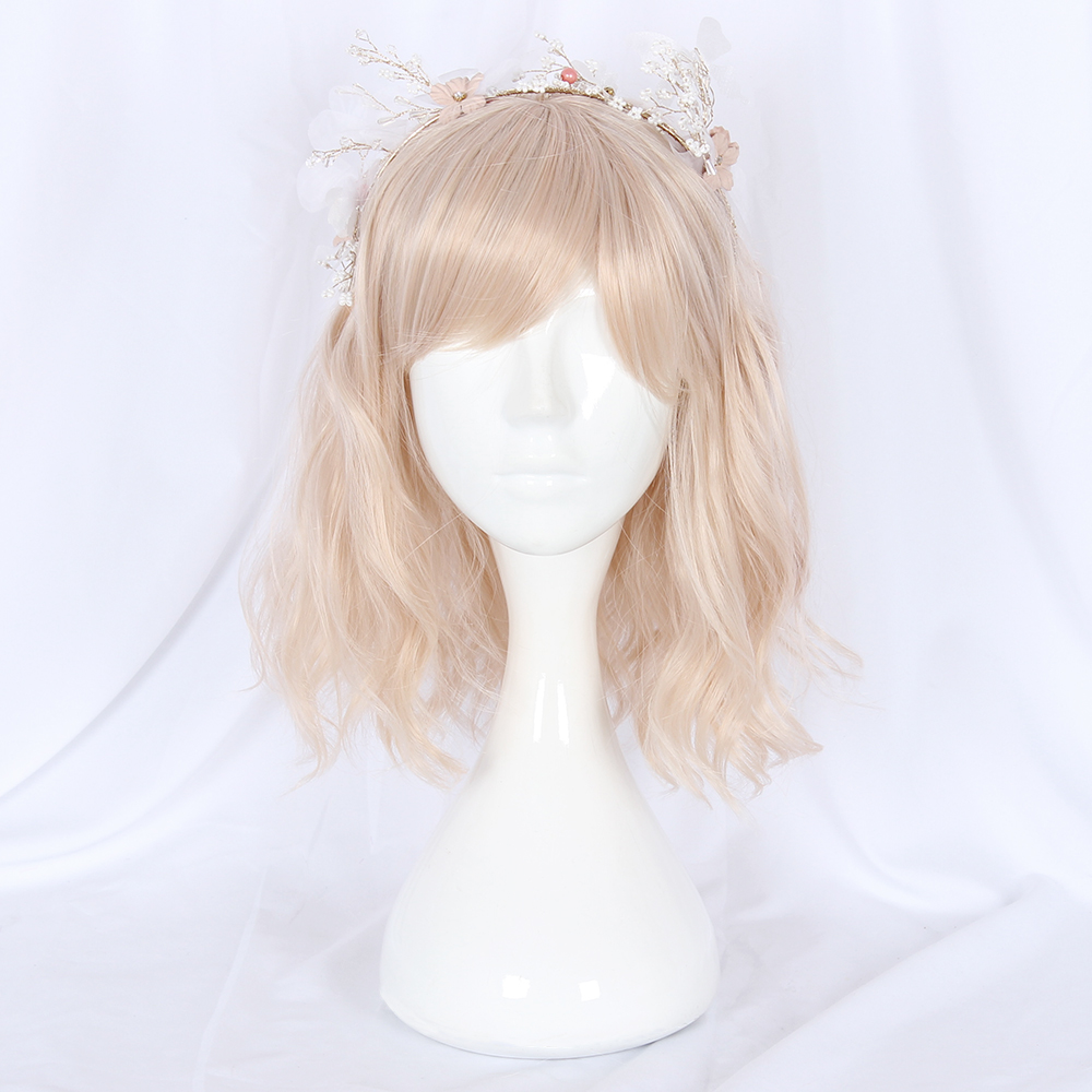 short body wave Japanese sweet cute Lolita style synthetic fashionable daily use hair wig