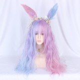 Anime ear Long Wave Pink Blue Mix Cosplay Synthetic Wig Party Wigs Anime Lolita Wig